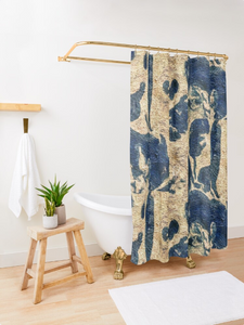 "Shower Curtain "" Abstract Blue/Gold"" Lady Barbara Pinson Artist Home Collection"