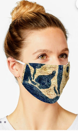 """Abstract Blue/Gold"" Designer Mask by Lady Barbara Pinson Artist"