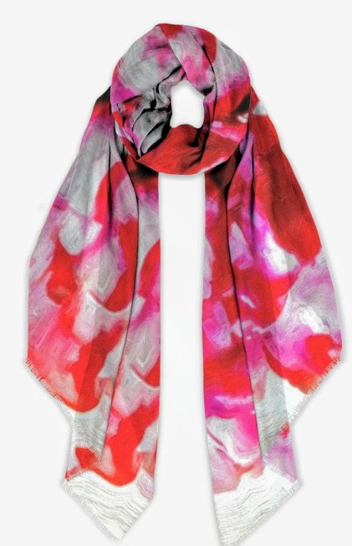 """Peonies From Heaven Big""- 28"" x  80"""" Botanical Cashmere Scarf"