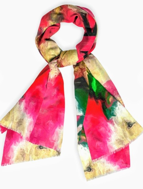 """Christmas Teddy"" - 28""x 80 "" Botanical Cashmere Scarf by Lady Barbara Pinson Artist"