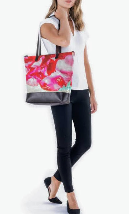 """Peonies From Heaven 2""  Luxury Statement Bag Lady Barbara Pinson Artist"