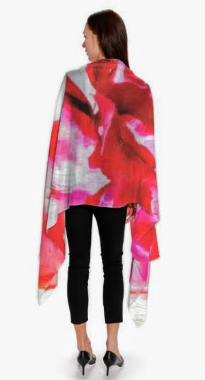 """Peonies from Heaven"" Cashmere/Silk 28""x80"" scarf"