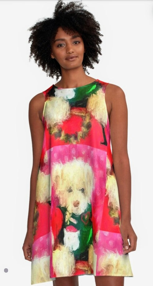 """Christmas Teddy A-Line Dress by Lady Barbara Pinson Artist"