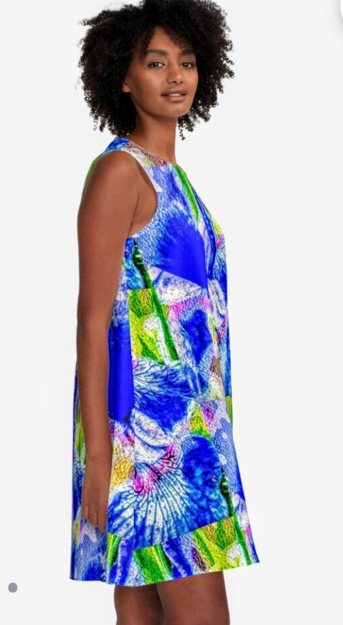 """Blue Iris"" A-line Dress Lady Barbara Pinson Artist"