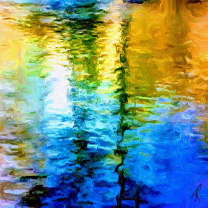 """Water Water 3"" - Scarf Square by Lady Barbara Pinson Artist"
