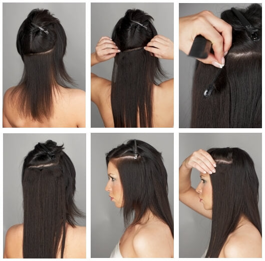 How to put in clip in hair extensions yourself?