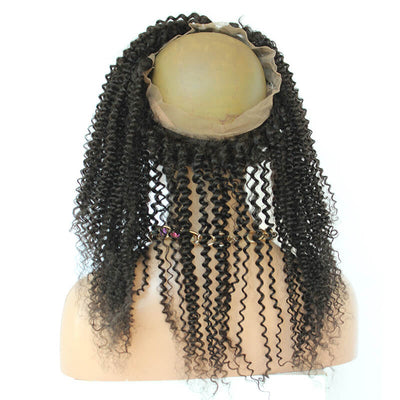 Brazilian Remy Hair Kinky Curly 360 Lace Band Frontal Closure With Baby Hair Natural Hairline For Black Women back