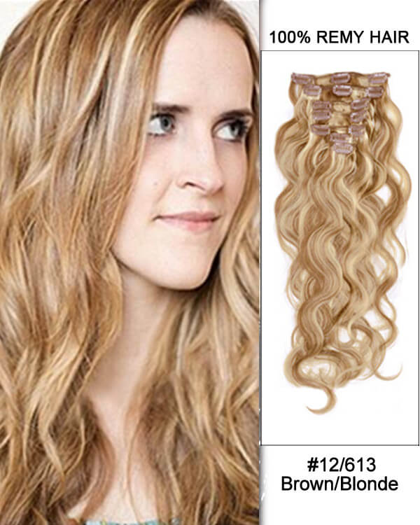 Hairthy Body Wave 100% Remy Hair Clip In Human Hair Extensions - 7pcs #12 613 Brown Blonde