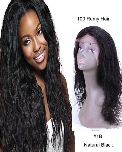 Hairthy Brazilian Virgin Hair Wavy Glueless Lace Front Human Hair Wigs For African American
