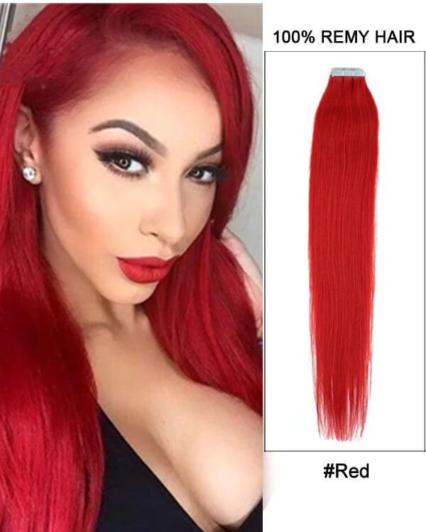 Hairthy Red Tape in Straight Remy Hair Human Hair Extensions For Thin Hair-40 Pieces 100g Lookbook