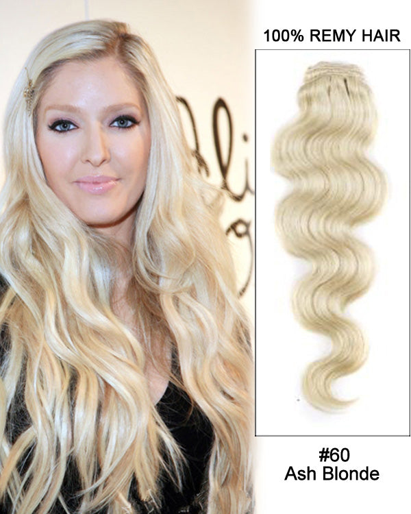 Hairthy Ash Blonde Body Wave 100% Remy Hair Huaman Clip in Extensions -7pcs #60