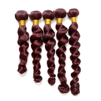 Hairthy Loose Wave Dark Plum Red Remy Hair Weave Weft Human Hair Extension 4 Bundles