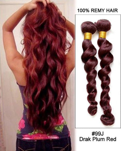 Hairthy Loose Wave Dark Plum Red Remy Hair Weave Weft Human Hair Extension