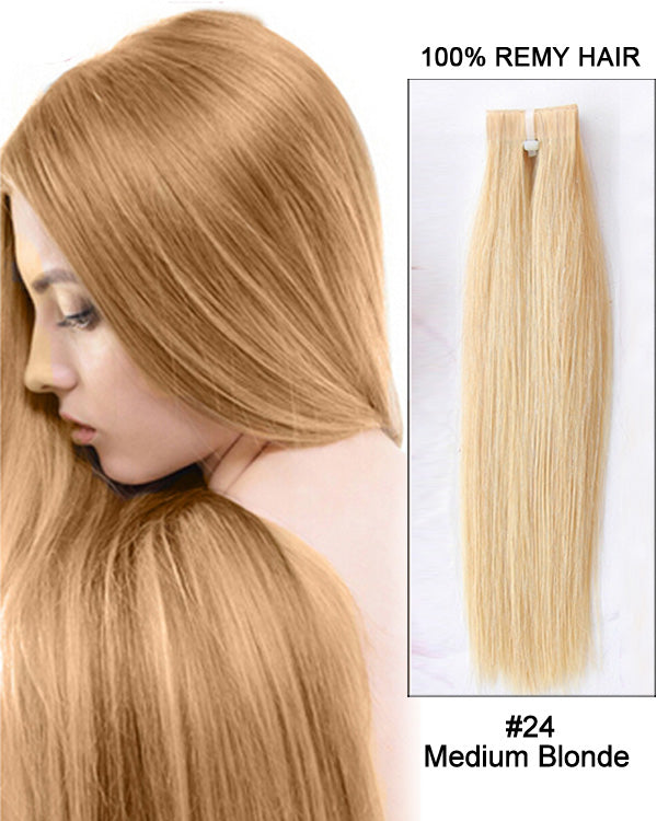 Hairthy Medium Blonde Tape in Remy Hair Human Hair Extensions-40 Pieces #18 Straight