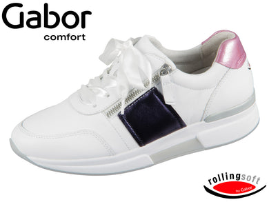 Gabor Rolling Soft 26.938-52 weiss night pink Nappa Luxor Metallic