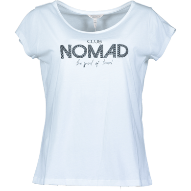 "Esqualo Weißes T-Shirt ""Club Nomad the spirit of travel"" Damenmode"