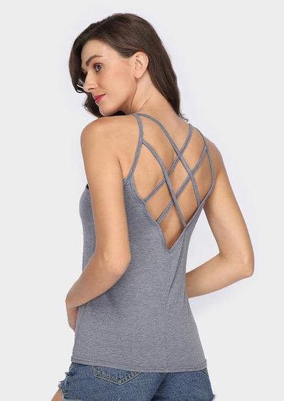 Solid Hollow Out Backless Camisole