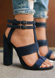 Solid Buckle Strap Heeled Sandals In Stock