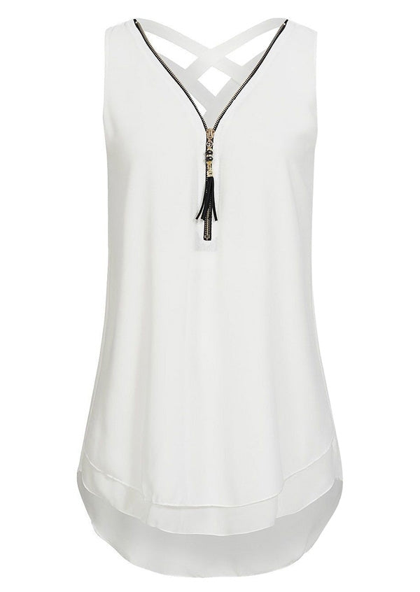 Solid Zipper Criss-Cross Tank