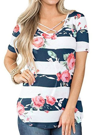 Floral Striped Criss-Cross Blouse