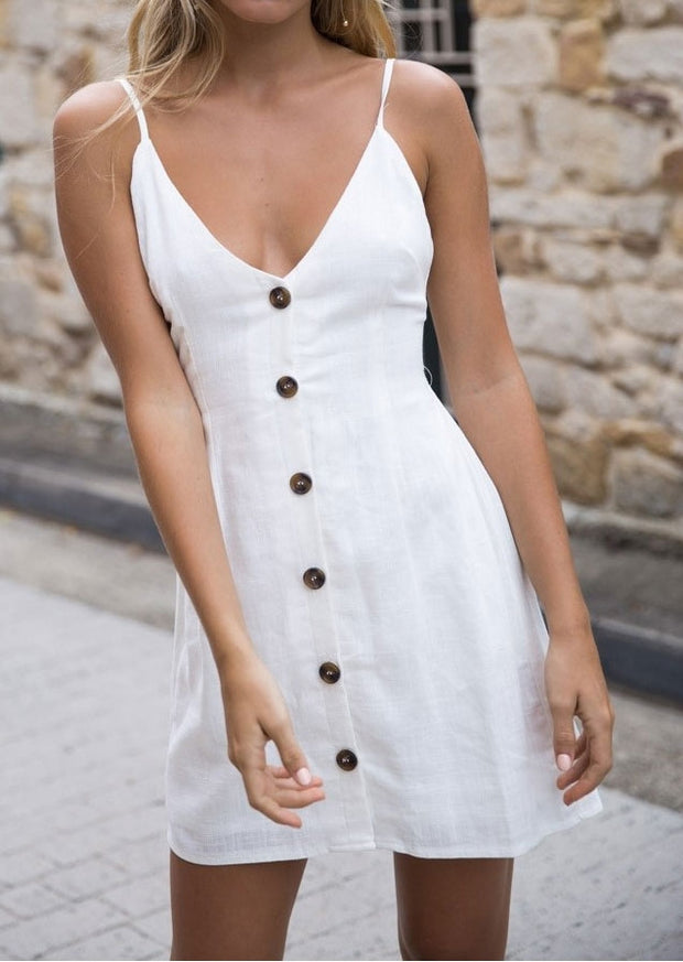 Solid Button Spaghetti Strap Mini Dress without Necklace