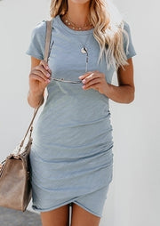 Solid Ruched Short Sleeve Bodycon Dress without Necklace
