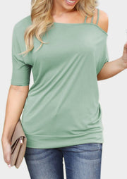 Solid One-Shoulder Batwing Sleeve Blouse