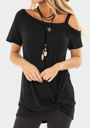Solid One Shoulder Twist Blouse without Necklace