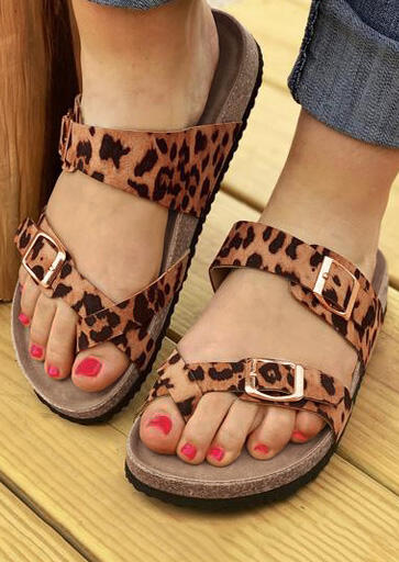 Leopard Pattern Cross Flat Slippers