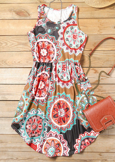 Floral O-Neck Sleeveless Mini Dress without Necklace