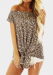 Leopard Printed Off Shoulder Tie Blouse without Necklace