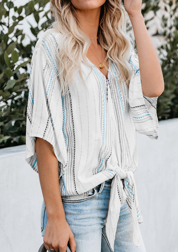 Striped Tie V-Neck Blouse without Necklace