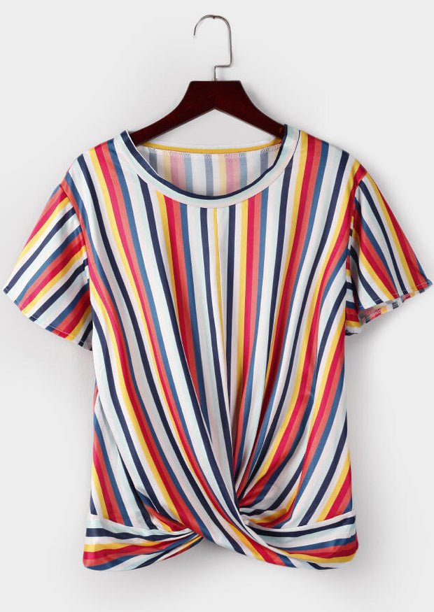 Striped Wrap O-Neck Blouse
