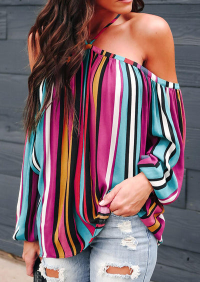 Striped Halter Off Shoulder Blouse