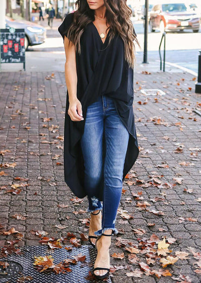 Solid Wrap Asymmetric Blouse without Necklace - Black