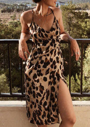 Leopard Printed Slit Casual Dress without Necklace - Leopard
