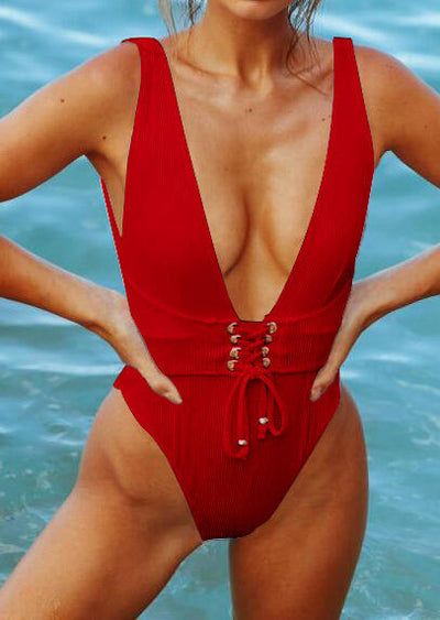 Solid Lace Up One-Piece Swimsuit - Red