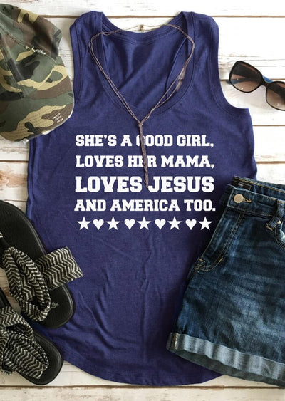 She's A Good Girl Loves Her Mama Tank - Navy Blue