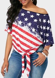 American Flag Tie One Shoulder Blouse - Stripe