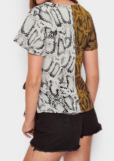Snake Skin Printed Two Tone Spliced Self Tie Blouse - Multicolor
