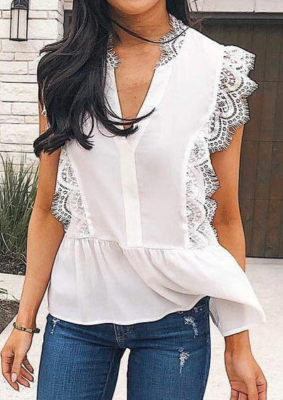 Lace Splicing Deep V-Neck Blouse - White