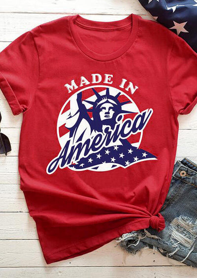 Made In America O-Neck T-Shirt Tee - Red