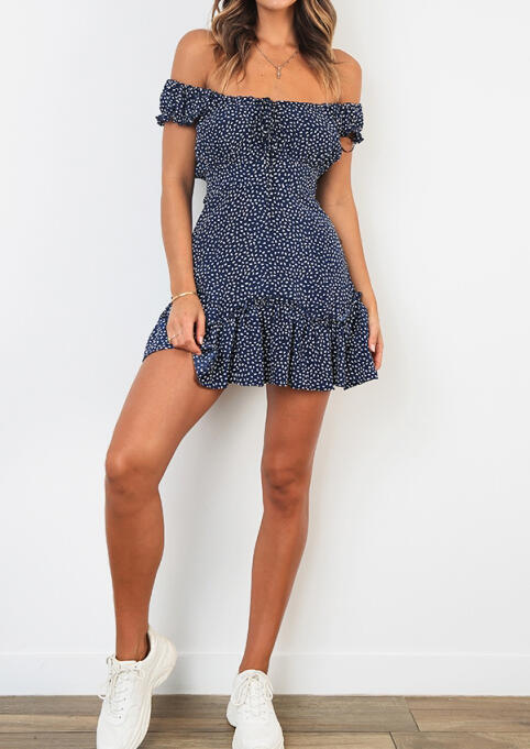 Printed Ruffled Off Shoulder Mini Dress without Necklace - Blue