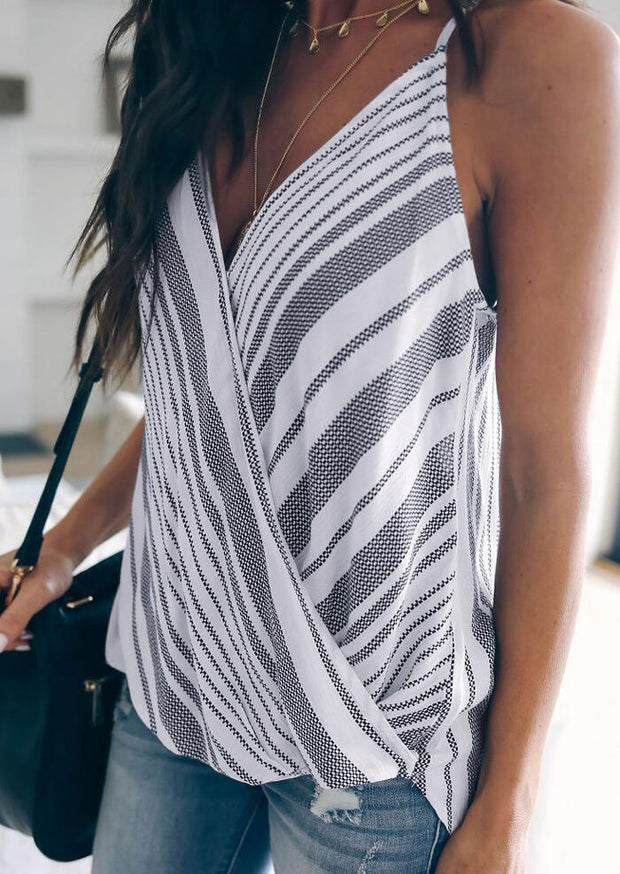 Striped Splicing Tank without Necklace - Stripe