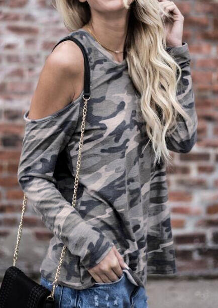 Camouflage Printed Cold Shoulder Blouse without Necklace - Camouflage