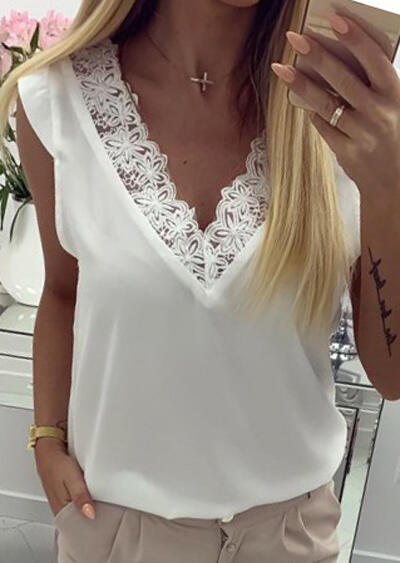 Solid Lace Open Back Tank without Necklace - White