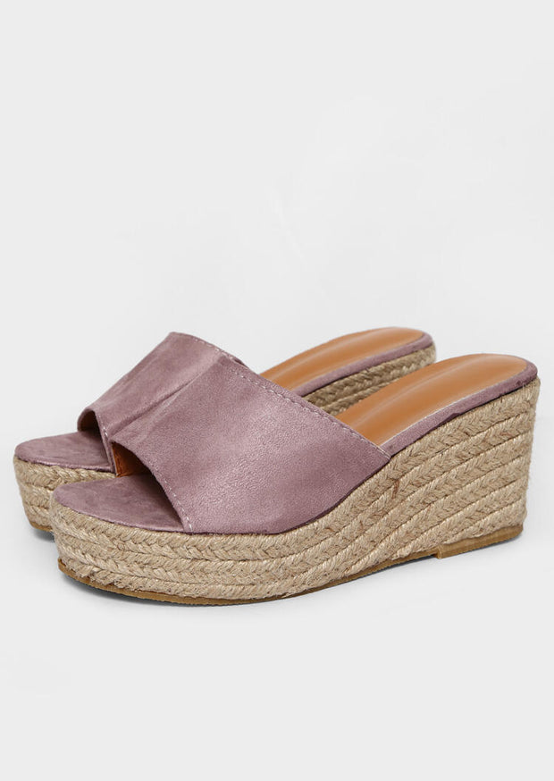 Solid Round Toe Wedge Slippers - Cameo Brown