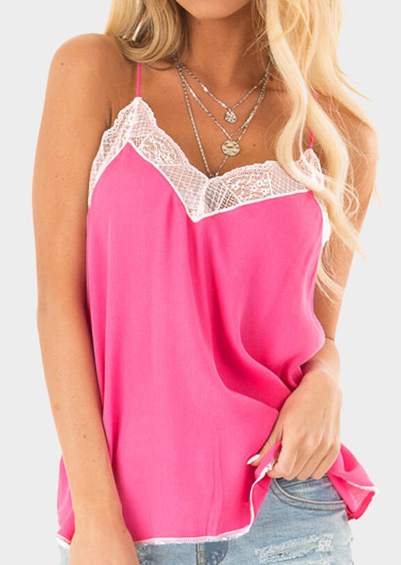 Lace Splicing Camisole without Necklace - Rose Red
