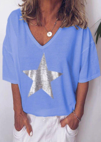 Star V-Neck T-Shirt Tee without Necklace - Sky Blue