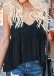Solid Ruffled Spaghetti Strap Camisole without Necklace - Black